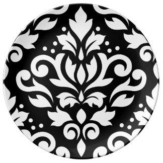 Scroll Damask Large Design White on Black Porcelain Plates