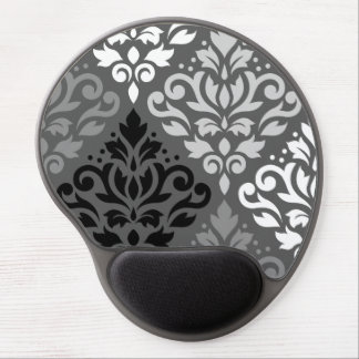 Scroll Damask Large Off-Set Ptn BW & Greys Gel Mouse Pad
