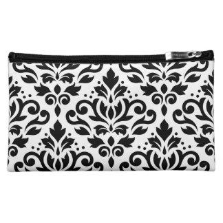 Scroll Damask Large Pattern Black on White Cosmetic Bag
