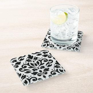 Scroll Damask Large Pattern Black on White Glass Coaster