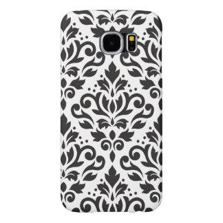 Scroll Damask Large Pattern Black on White Samsung Galaxy S6 Case