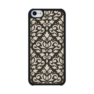 Scroll Damask Large Pattern Black Surround Carved® Maple iPhone 5C Case