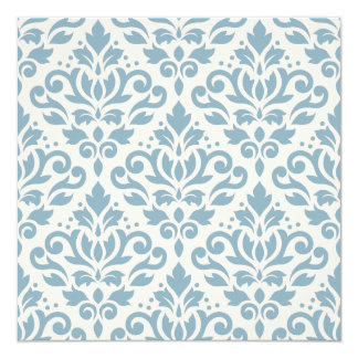Scroll Damask Large Pattern Blue on Cream Card