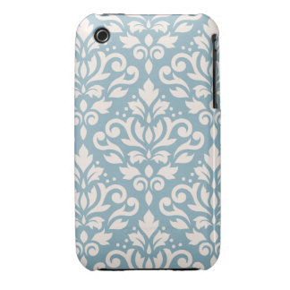 Scroll Damask Large Pattern Cream on Blue iPhone 3 Case