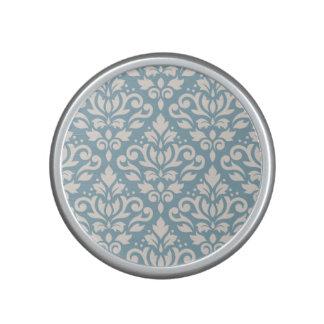 Scroll Damask Large Pattern Cream on Blue Speaker