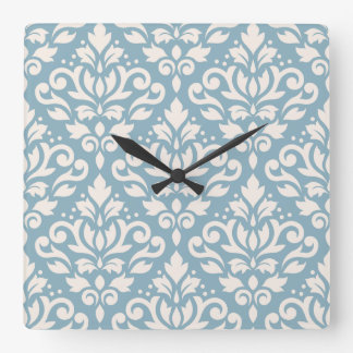 Scroll Damask Large Pattern Cream on Blue Square Wall Clock