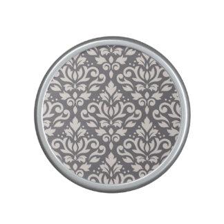 Scroll Damask Large Pattern Cream on Grey Bluetooth Speaker