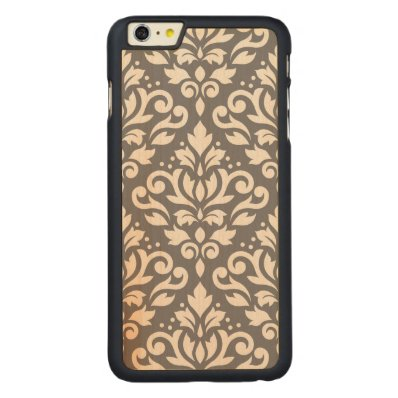 Scroll Damask Large Pattern Cream on Grey Carved® Maple iPhone 6 Plus Case