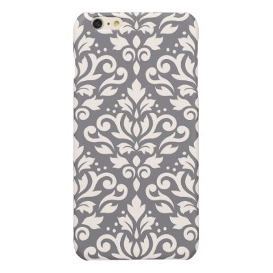 Scroll Damask Large Pattern Cream on Grey Glossy iPhone 6 Plus Case