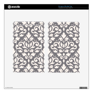 Scroll Damask Large Pattern Cream on Grey Kindle Fire Decal