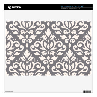 Scroll Damask Large Pattern Cream on Grey MacBook Air Decals