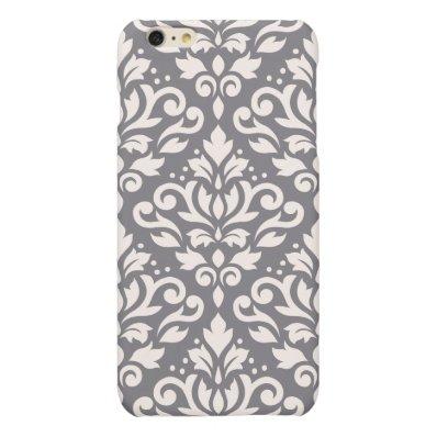 Scroll Damask Large Pattern Cream on Grey Matte iPhone 6 Plus Case