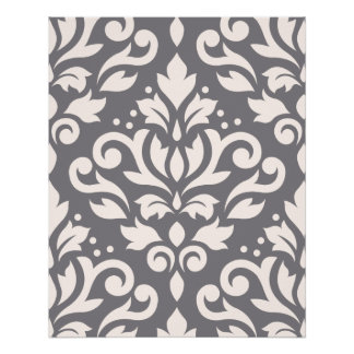 Scroll Damask Large Pattern Cream on Grey Poster