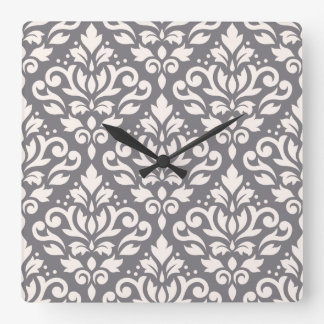 Scroll Damask Large Pattern Cream on Grey Square Wall Clock