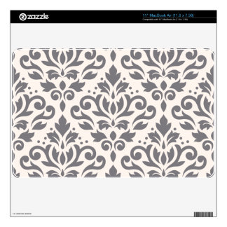 Scroll Damask Large Pattern Grey on Cream MacBook Air Decals