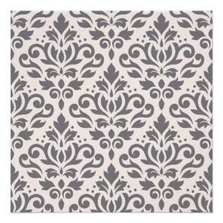 Scroll Damask Large Pattern Grey on Cream Poster