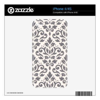 Scroll Damask Large Pattern Grey on Cream Skin For The iPhone 4S