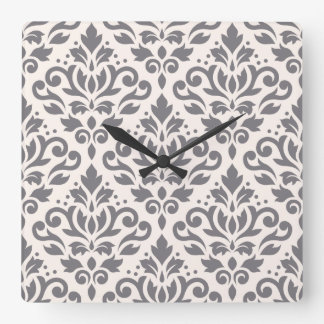 Scroll Damask Large Pattern Grey on Cream Square Wall Clock