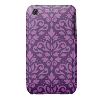 Scroll Damask Large Pattern Light on Dark Plum iPhone 3 Case-Mate Case