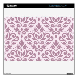 "Scroll Damask Large Pattern Mauve on Pink 11"" MacBook Air Decal"