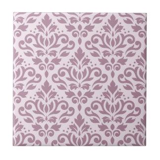 Scroll Damask Large Pattern Mauve on Pink Ceramic Tile
