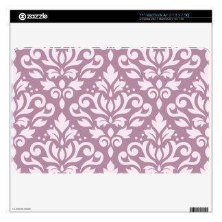 "Scroll Damask Large Pattern Pink on Mauve 11"" MacBook Air Decal"