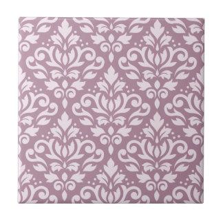 Scroll Damask Large Pattern Pink on Mauve Ceramic Tile