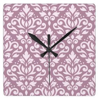 Scroll Damask Large Pattern Pink on Mauve Square Wall Clock