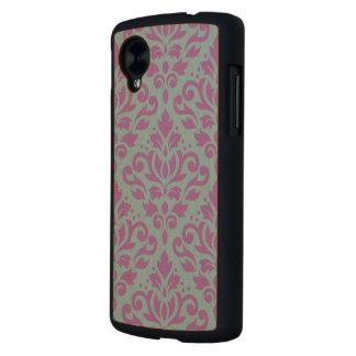 Scroll Damask Large Pattern Plum on Blue Carved® Maple Nexus 5 Case