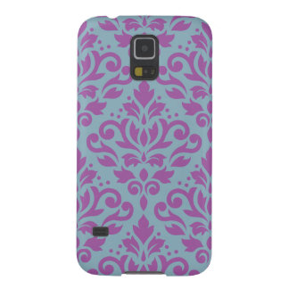 Scroll Damask Large Pattern Plum on Blue Galaxy S5 Cases