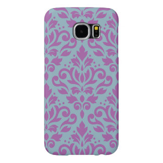 Scroll Damask Large Pattern Plum on Blue Samsung Galaxy S6 Cases