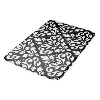 Scroll Damask Large Pattern White on Black Bathroom Mat