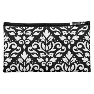 Scroll Damask Large Pattern White on Black Cosmetic Bag