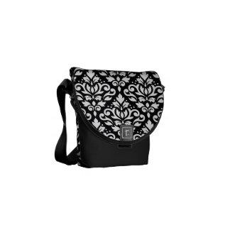 Scroll Damask Large Pattern White on Black Courier Bag