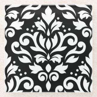 Scroll Damask Large Pattern White on Black Glass Coaster