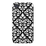 Scroll Damask Large Pattern White on Black iPhone 4 Cases