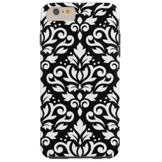 Scroll Damask Large Pattern White on Black Tough iPhone 6 Plus Case