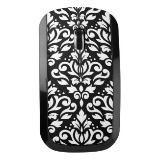 Scroll Damask Large Pattern White on Black Wireless Mouse