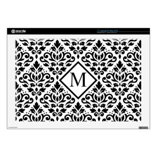 "Scroll Damask Lg Ptn Black on White (Personalized) 17"" Laptop Skins"