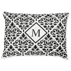 Scroll Damask Lg Ptn Black on White (Personalized) Pet Bed