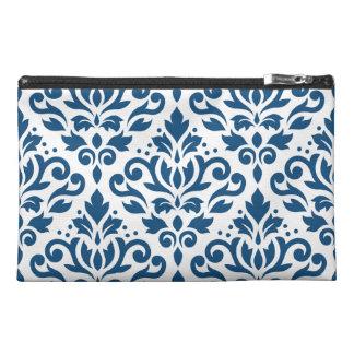 Scroll Damask Lg Ptn Dk Blue on White Travel Accessories Bag