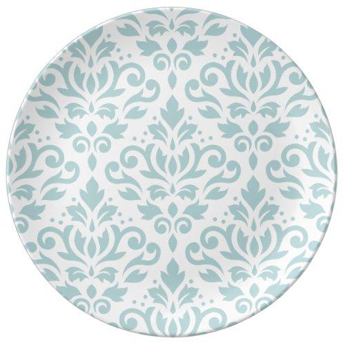 Scroll Damask Lg Ptn Duck Egg Blue (B) on White Porcelain Plate