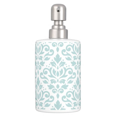 Scroll Damask Lg Ptn Duck Egg Blue (B) on White Soap Dispenser & Toothbrush Holder