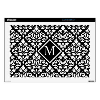 "Scroll Damask Lg Ptn White on Black (Personalized) Decals For 17"" Laptops"