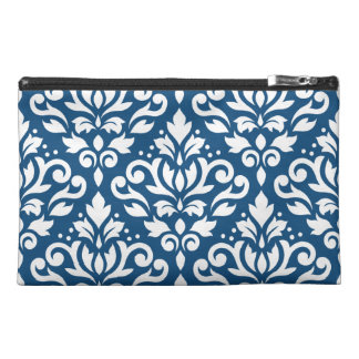 Scroll Damask Lg Ptn White on Dk Blue Travel Accessory Bags