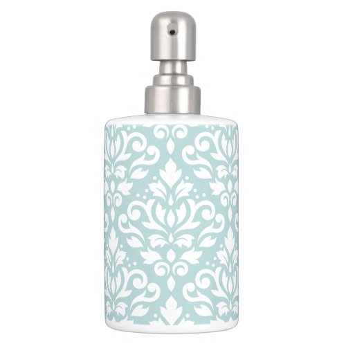 Scroll Damask Lg Ptn White on Duck Egg Blue (B) Bath Set