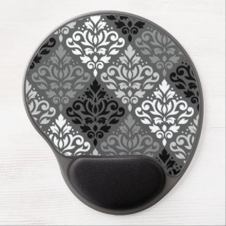 Scroll Damask Off-Set Ptn BW & Greys Gel Mouse Pad