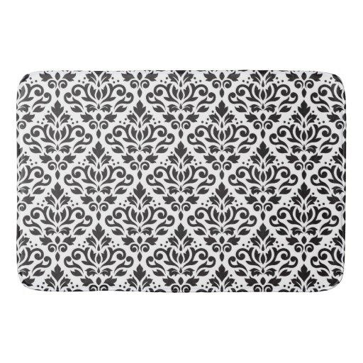scroll damask pattern black on white bath mat zazzle