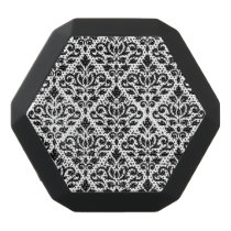 Scroll Damask Pattern Black on White Black Bluetooth Speaker