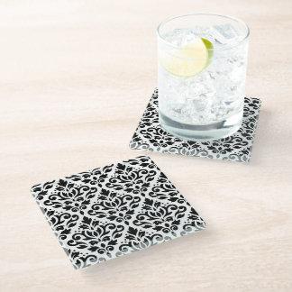 Scroll Damask Pattern Black on White Glass Coaster